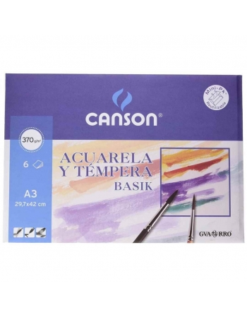 Papel Acuarela CANSON Basik A3 370 g. Pack x6 Hojas