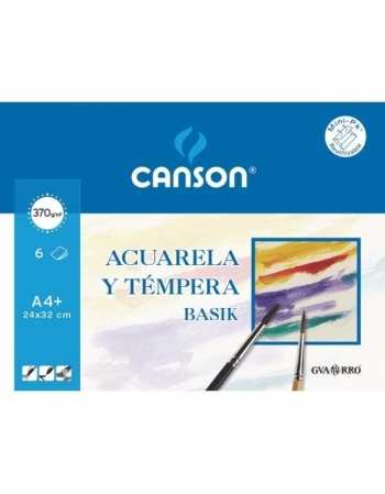 Papel Acuarela CANSON Basik A4 370 g. Pack x6 Hojas