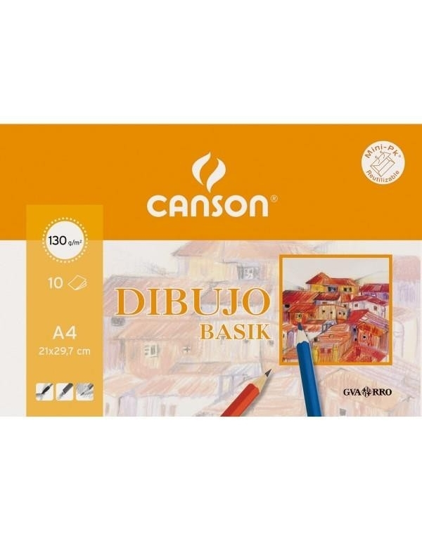 Papel Dibujo CANSON Basik A4 Liso 130 g. Pack x10 Hojas