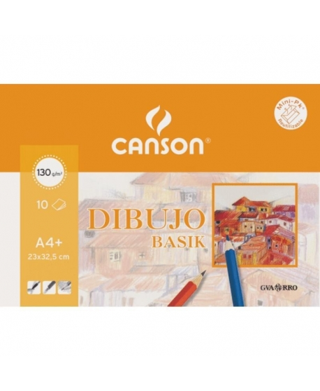 Papel Dibujo CANSON Basik A4+ Liso 130 g. Pack x10 Hojas