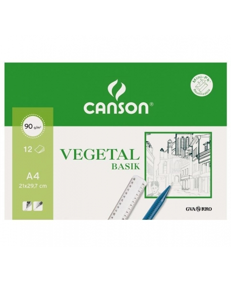 Papel Vegetal CANSON Basik A4 95 g. Pack x12 Hojas
